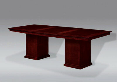 FOOT CHERRY Wood Modern Boat Shaped Conference Table With SQUARE - Pedestal conference table