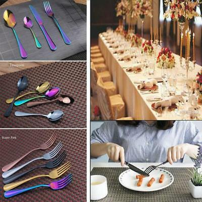 4Pcs/Set Stainless Steel Dinnerware Black Cutlery Fork Spoon Teaspoon Kit Hot
