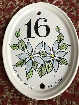 1980s handpainted ceramic house sign from rye in sussex .number 16