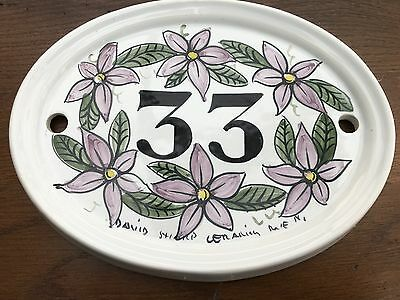 1980s handpainted ceramic house sign from rye in sussex .number 33