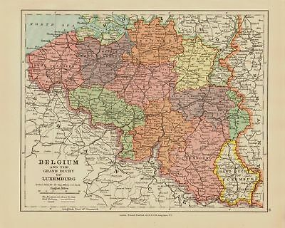 Edward Stanford Map  1920 . Belgium - Luxemburg