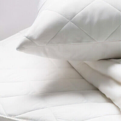 Linens Limited Polycotton Percale Quilted Zipped Pillow Protectors, Pair