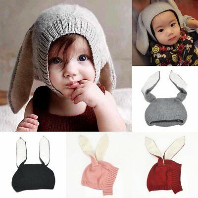Toddler Kids Girl&Boy Baby Winter Warm Knitted Rabbit Crochet Ear Beanie Hat Cap