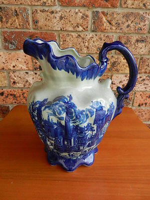 VINTAGE ANTIQUE Large BLUE & WHITE POTTERY JUG
