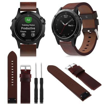 UK Luxury PU Leather Watch band Wrist strap For Garmin Fenix 5 Easyfit