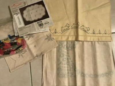 Lot of 3 Vintage Transfer Linen Embroidery Lot Dog Handtowel Doily Cloth AS IS