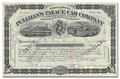 Pullman's Palace Car Company Stock Certificate
