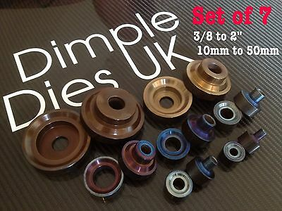 "7 Dimple Die Set 3/8 1/2 5/8 3/4 1"" 1 1/2"" 2"" Hole Swager Flare Autograss"