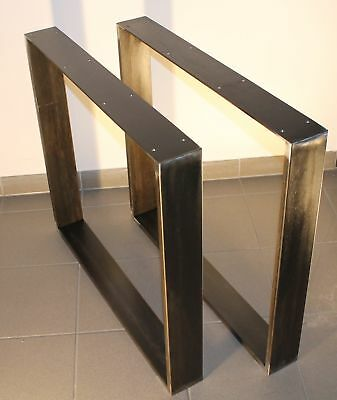 tischkufen Industrial Design Table Frame Black Crude Steel 80 x 73 Design