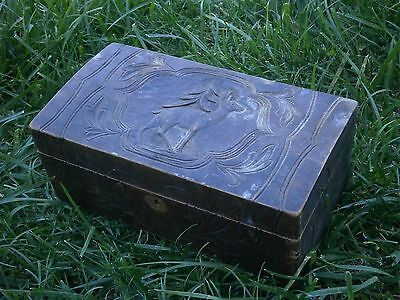 Vintage Antique Wooden Box With Beautiful Carving