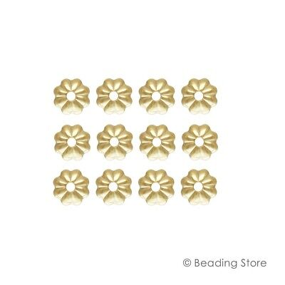 6 or 50 14ct Yellow Gold Filled Bead Caps 4mm Fluted Flower 1mm Hole Findings