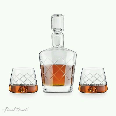 Final Touch 100% Lead-free Crystal WHISKEY DECANTER 1L Drinking SET With Glasses