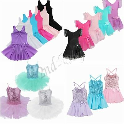 Kids Girls Ballet Dress Sequined Party Tutu Skirt Leotards Dancewear Gym Costume
