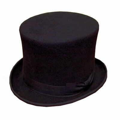 Black Felt Top Hat S/M/L/XL 100% Wool Steampunk Goth Wedding BNWT/NEW
