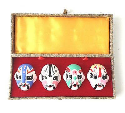 CHINESE Collectibles Hand Painted Opera Face Masks Mounted Set of 4 Pottery