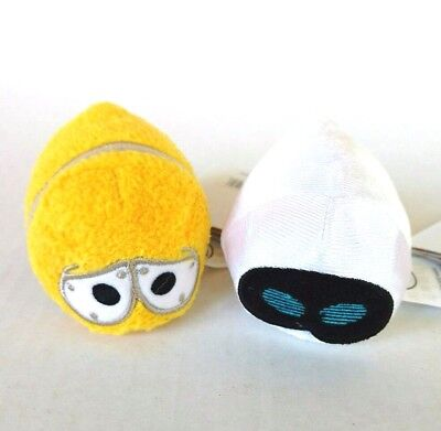 Disney Pixar Mini Tsum Tsum Wall-E Eve Bundle 3.5 in Yellow White Plush Stuffed