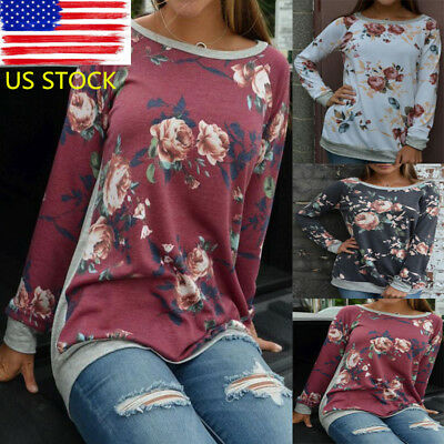 Lady Retro Floral Long Sleeve Tops Crew Neck Patchwork Casual Blouse T-Shirt Tee