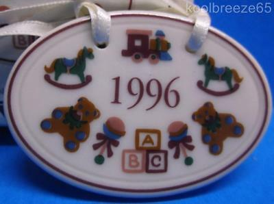Longaberger Basket 1996 Baby Tie On 32310 Ceramic Ornament Accessory IOB