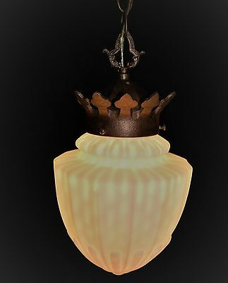 VTG DECO ERA VICTORIAN CHANDELIER PENDANT GLASS SHADE CEILING LIGHT FIXTURE 30's