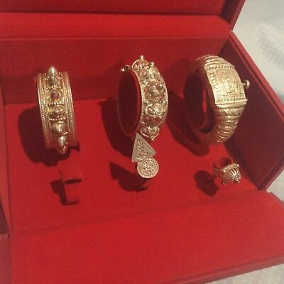 Middle Eastern Omani Bedouin Style Silver Cuff Bracelet and Ring Set