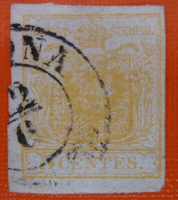 Italy Old States Lombardo Veneto 5 centes yellow used - Faulty stamp