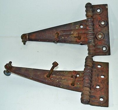 Two Antique Iron Barn Door Hinges Ornate Vintage Press Steel T-Strap 2