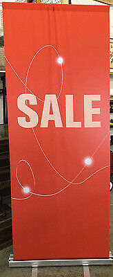 """Two 33"""" x 80"""" Metrix Retractable Stand w/Fabric Banner """"SALE"""" Advertising Sign"""