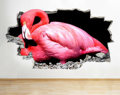 Wall Stickers Pink Flamingo Bird Bedroom Smashed Decal 3D Art Vinyl Room F669