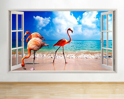 Wall Stickers Flamingo Beach Sea Bird Sun Window Decal 3D Art Vinyl Room F937