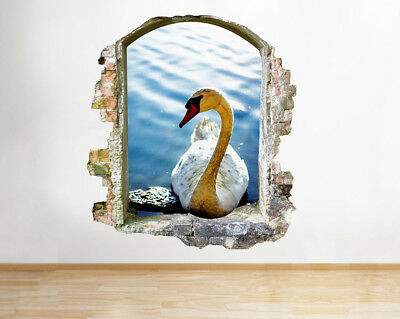 Wall Stickers Swan Bird Lake Pond Water Smashed Decal 3D Art Vinyl Room G419
