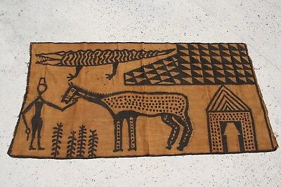 ANTIQUE PRIMITIVE AFRICAN Native TAPESTRY TRIBAL DIED CLOTH RUG BLANKET ART