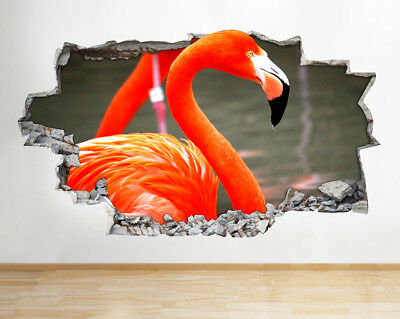 Wall Stickers Flamingo Bird River Exotic Smashed Decal 3D Art Vinyl Room F586