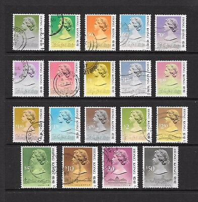 1987 Queen Elizabeth II SG538 to SG615 full set of 19 stamps fine used HONG KONG