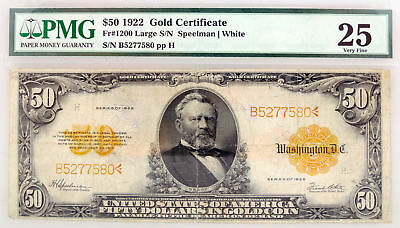 Series of 1922 $50 Gold Certificate Large S/N Fr#1200 PMG VF25