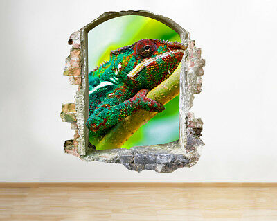 Wall Stickers Lizard Chameleon Reptile Boys Smashed Decal 3D Art Vinyl Room F496