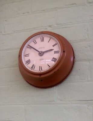 Vintage MAGNETA ELECTRIC LONDON Enamel Brass Office Wall Clock,Art Deco,Quartz