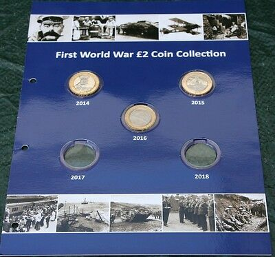 WW1 First World War COLLECTION OF £2 Coins  2014 , 2015 , 2016 on display card