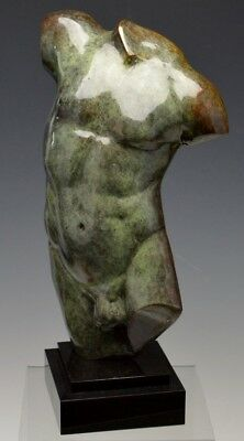 Signed Bronze Sculpture of a Male Torso Lot 22