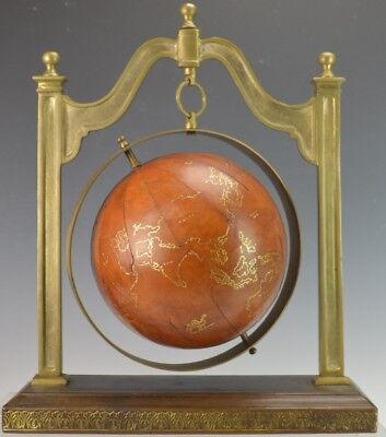 Decorative Leather Covered Globe and Stand Lot 27