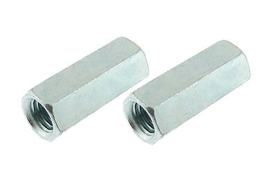 "2 Pack 1/2""-13 x 1-3/4"" Long Hex Coupling Nut with Zinc Plate CN-500-13-1.75-Z"