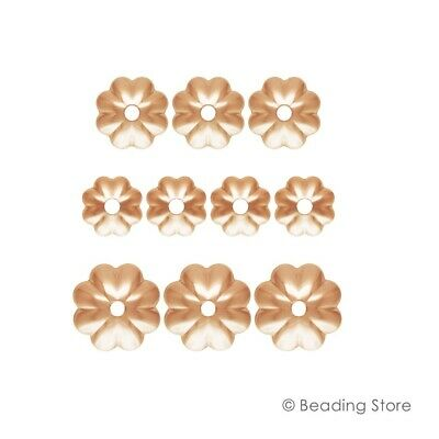 6 or 50 14ct Rose Gold Filled Bead Caps 4mm Fluted Flower 1mm Hole Findings