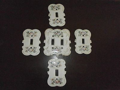 5 Vintage Shabby Country Cottage Decor Light Switch plate Cover Floral Ceramic