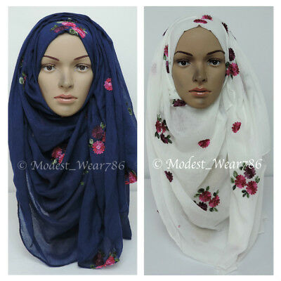 Maxi Cotton Polyester Floral Embroidery Hijab Scarf Wrap Muslim Headcover