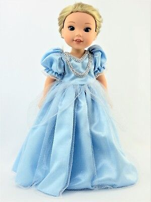 """Blue Princess Dress Fits Wellie Wishers 14.5"""" American Girl Clothes"""
