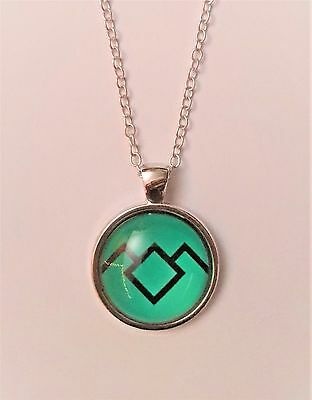 "Twin Peaks ""Owl Cave Ring"" Logo Glass Domed Silver Chain Necklace/Pendant"