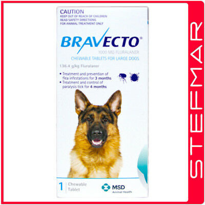 2 x Bravecto for Dogs Large 20-40kg 1Pk Chews