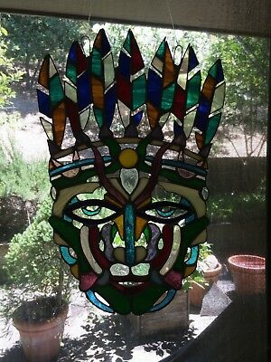 stained glass Mayan mask,original artist creation.