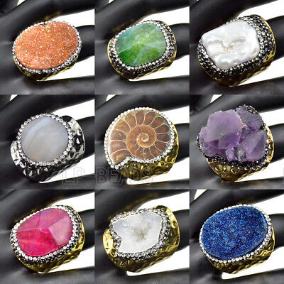 Large Natural Gemstone Druzy Quartz Pearl Rhinestone Crystal Paved Band Rings