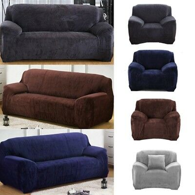 Easy Fit 1/2/3 Seater Thick Plush Velvet Couch Stretch Sofa Cover Slipcover Mats