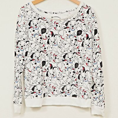 101 Dalmatians Sweatshirt M Disney Dogs Puppy White Black Red Womens